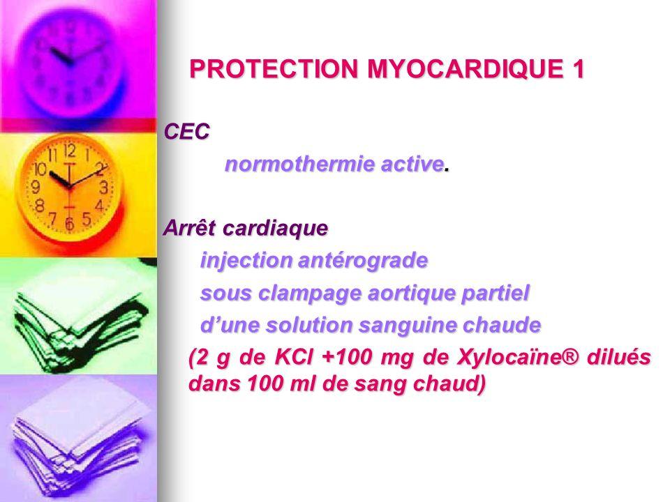 PROTECTION MYOCARDIQUE 1 CEC normothermie active. normothermie active. Arrêt cardiaque injection antérograde injection antérograde sous clampage aorti