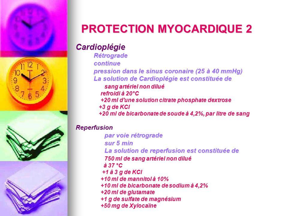 PROTECTION MYOCARDIQUE 2 Cardioplégie Rétrograde Rétrograde continue continue pression dans le sinus coronaire (25 à 40 mmHg) pression dans le sinus c