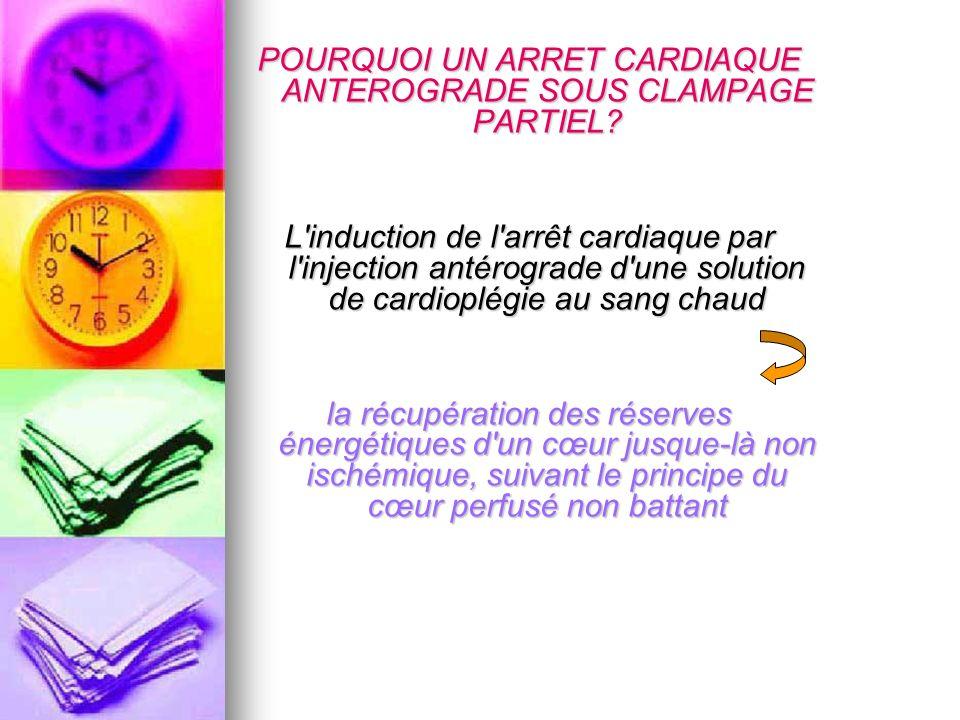 POURQUOI UN ARRET CARDIAQUE ANTEROGRADE SOUS CLAMPAGE PARTIEL? L'induction de l'arrêt cardiaque par l'injection antérograde d'une solution de cardiopl