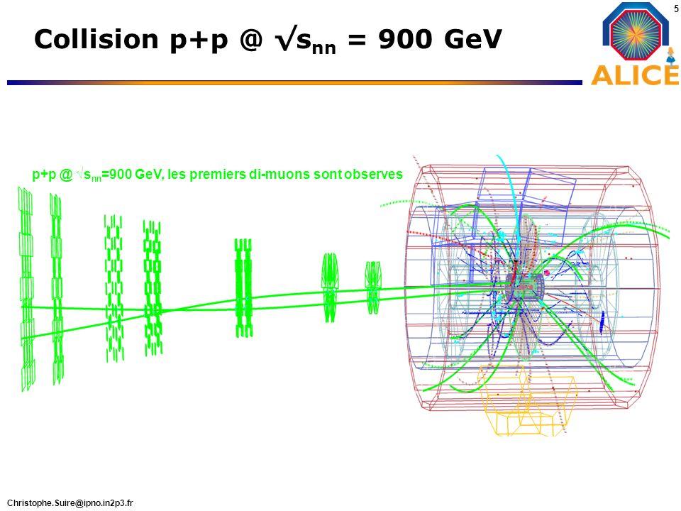 Christophe.Suire@ipno.in2p3.fr 5 Collision p+p @ s nn = 900 GeV p+p @ s nn =900 GeV, les premiers di-muons sont observes