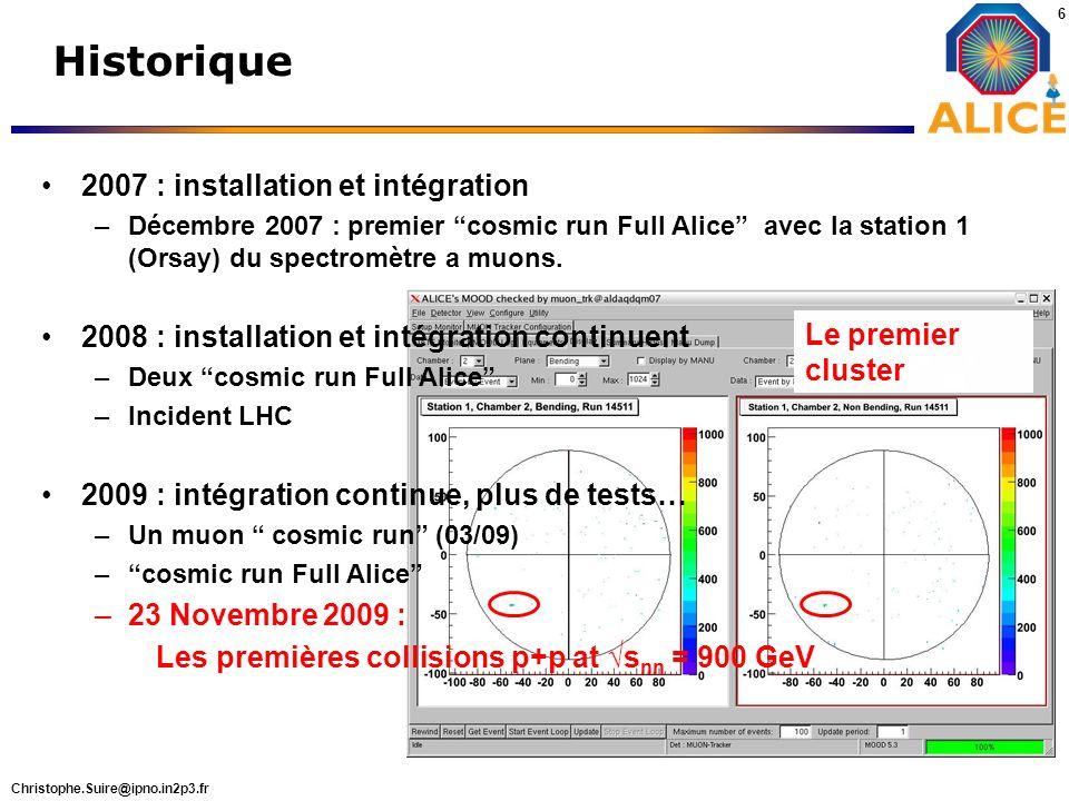 Christophe.Suire@ipno.in2p3.fr 6 Historique Le premier cluster 2007 : installation et intégration –Décembre 2007 : premier cosmic run Full Alice avec