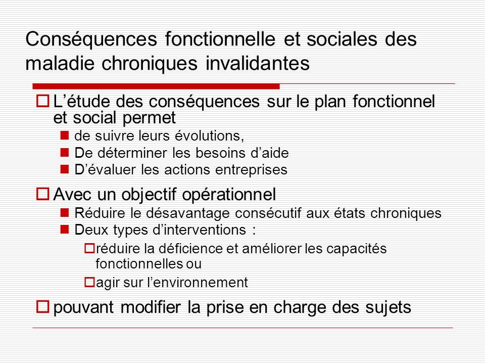 Conséquences fonctionnelle et sociales des maladie chroniques invalidantes Létude des conséquences sur le plan fonctionnel et social permet de suivre