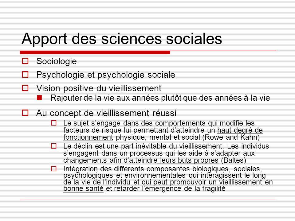 Apport des sciences sociales Sociologie Psychologie et psychologie sociale Vision positive du vieillissement Rajouter de la vie aux années plutôt que