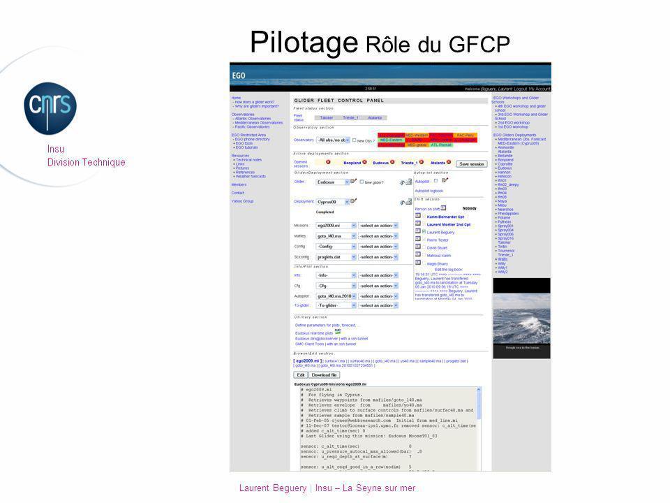 Laurent Beguery   Insu – La Seyne sur mer Pilotage Rôle du GFCP