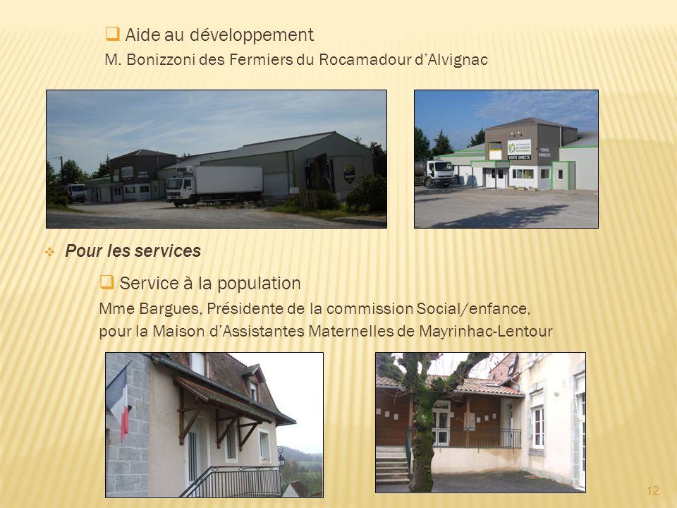 12 Aide au développement Service à la population Pour les services M. Bonizzoni des Fermiers du Rocamadour dAlvignac Mme Bargues, Présidente de la com