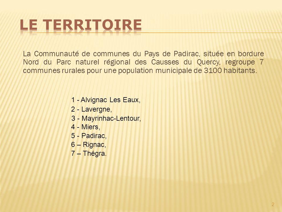 La Communauté de communes du Pays de Padirac, située en bordure Nord du Parc naturel régional des Causses du Quercy, regroupe 7 communes rurales pour