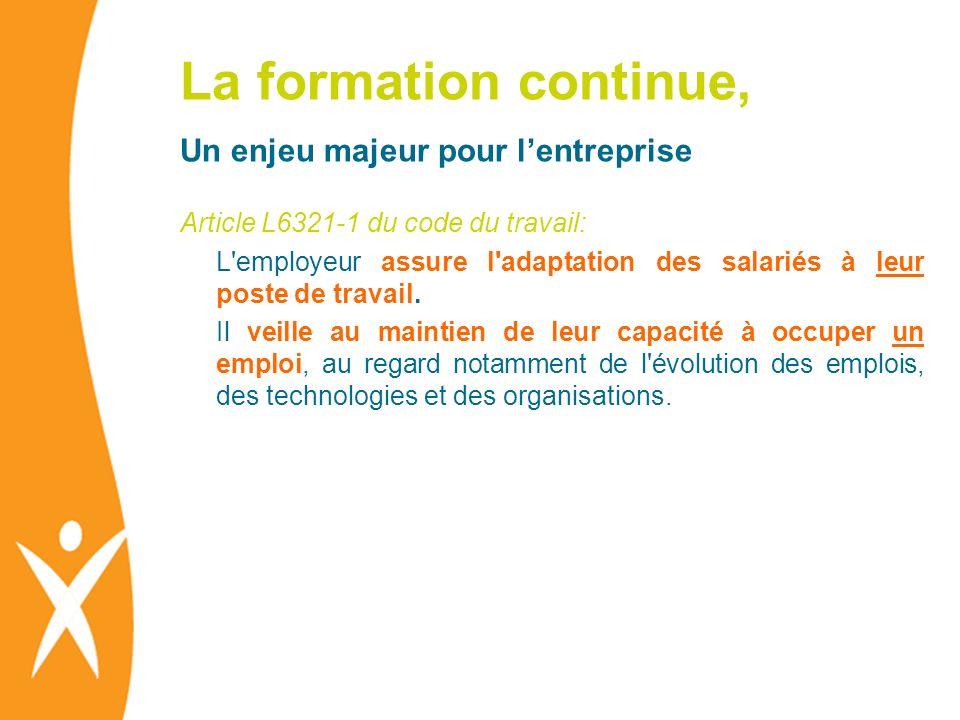 La formation continue, Un enjeu majeur pour lentreprise Article L6321-1 du code du travail: L'employeur assure l'adaptation des salariés à leur poste