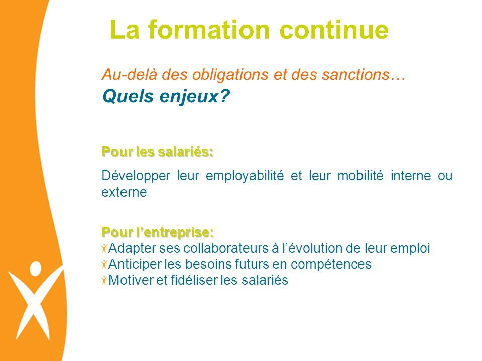 La formation continue Au-delà des obligations et des sanctions… Quels enjeux? Pour les salariés: Développer leur employabilité et leur mobilité intern