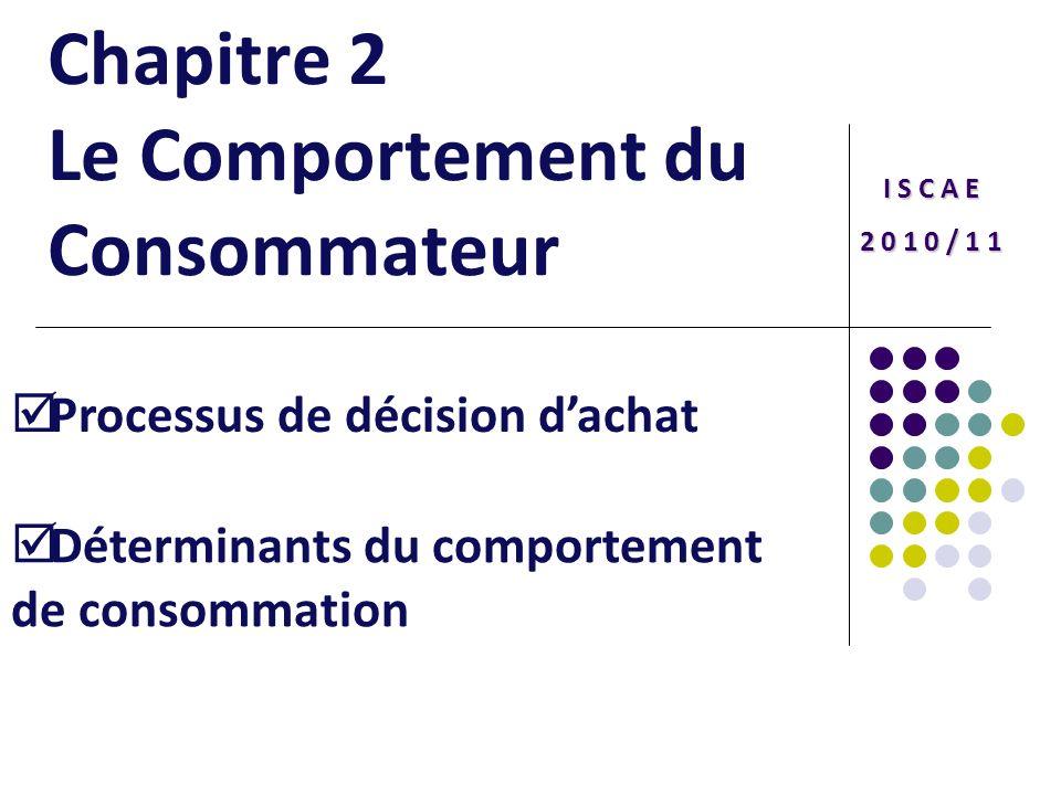 Chapitre 2 Le Comportement du Consommateur I S C A E 2 0 1 0 / 1 1 Processus de décision dachat Déterminants du comportement de consommation