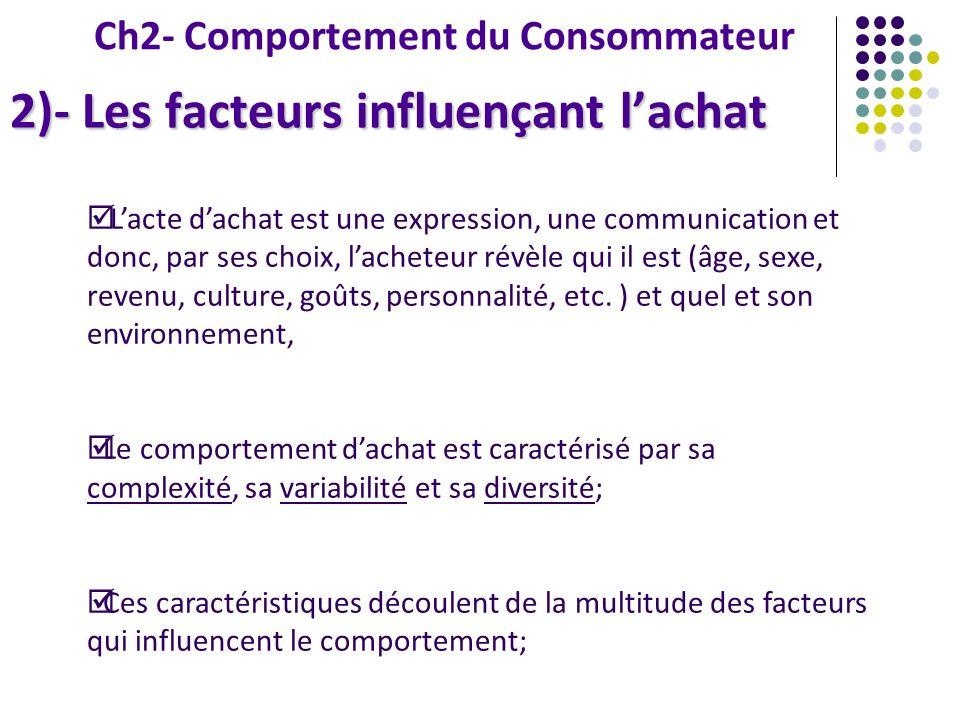 Ch2- Comportement du Consommateur 2)- Les facteurs influençant lachat Lacte dachat est une expression, une communication et donc, par ses choix, lache