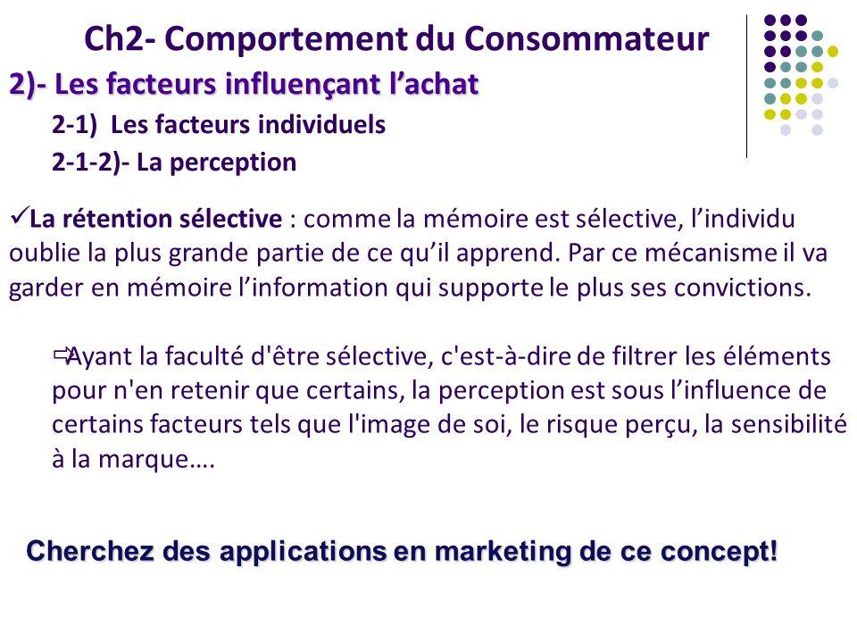 2-1) Les facteurs individuels 2-1-2)- La perception Ch2- Comportement du Consommateur 2)- Les facteurs influençant lachat La rétention sélective : com