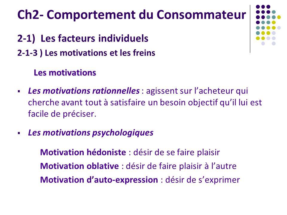 Ch2- Comportement du Consommateur 2-1) Les facteurs individuels 2-1-3 ) Les motivations et les freins Les motivations Les motivations rationnelles : a