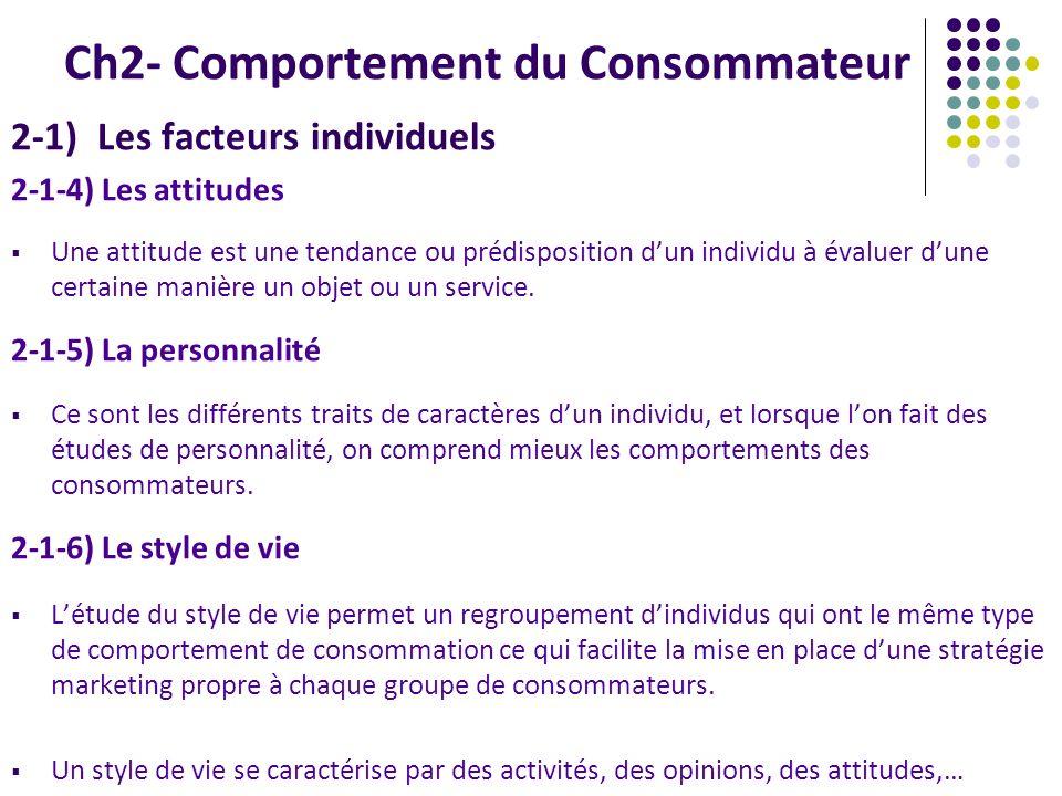 Ch2- Comportement du Consommateur 2-1) Les facteurs individuels 2-1-4) Les attitudes Une attitude est une tendance ou prédisposition dun individu à év