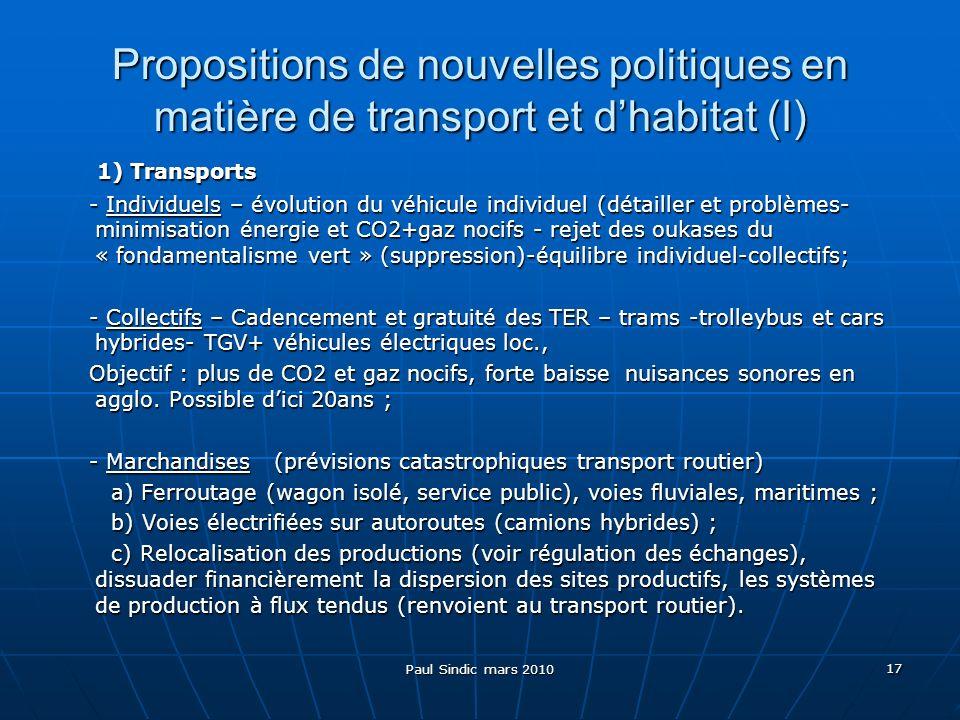 Paul Sindic mars 2010 17 Propositions de nouvelles politiques en matière de transport et dhabitat (I) 1) Transports 1) Transports - Individuels – évolution du véhicule individuel (détailler et problèmes- minimisation énergie et CO2+gaz nocifs - rejet des oukases du « fondamentalisme vert » (suppression)-équilibre individuel-collectifs; - Individuels – évolution du véhicule individuel (détailler et problèmes- minimisation énergie et CO2+gaz nocifs - rejet des oukases du « fondamentalisme vert » (suppression)-équilibre individuel-collectifs; - Collectifs – Cadencement et gratuité des TER – trams -trolleybus et cars hybrides- TGV+ véhicules électriques loc., - Collectifs – Cadencement et gratuité des TER – trams -trolleybus et cars hybrides- TGV+ véhicules électriques loc., Objectif : plus de CO2 et gaz nocifs, forte baisse nuisances sonores en agglo.