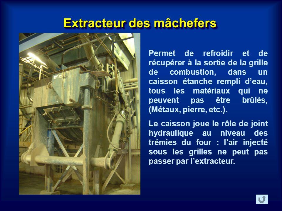 Extracteur des mâchefers Permet de refroidir et de récupérer à la sortie de la grille de combustion, dans un caisson étanche rempli deau, tous les matériaux qui ne peuvent pas être brûlés, (Métaux, pierre, etc.).