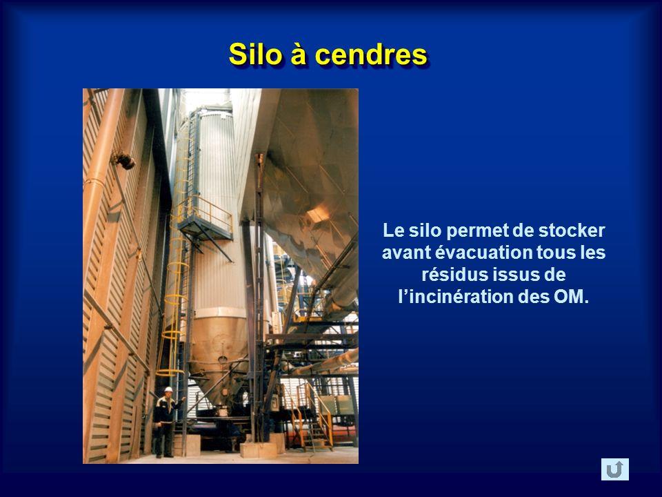 Silo à cendres Le silo permet de stocker avant évacuation tous les résidus issus de lincinération des OM.