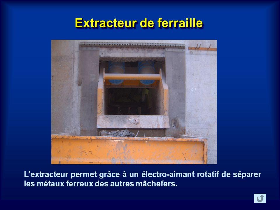 Extracteur de ferraille Lextracteur permet grâce à un électro-aimant rotatif de séparer les métaux ferreux des autres mâchefers.