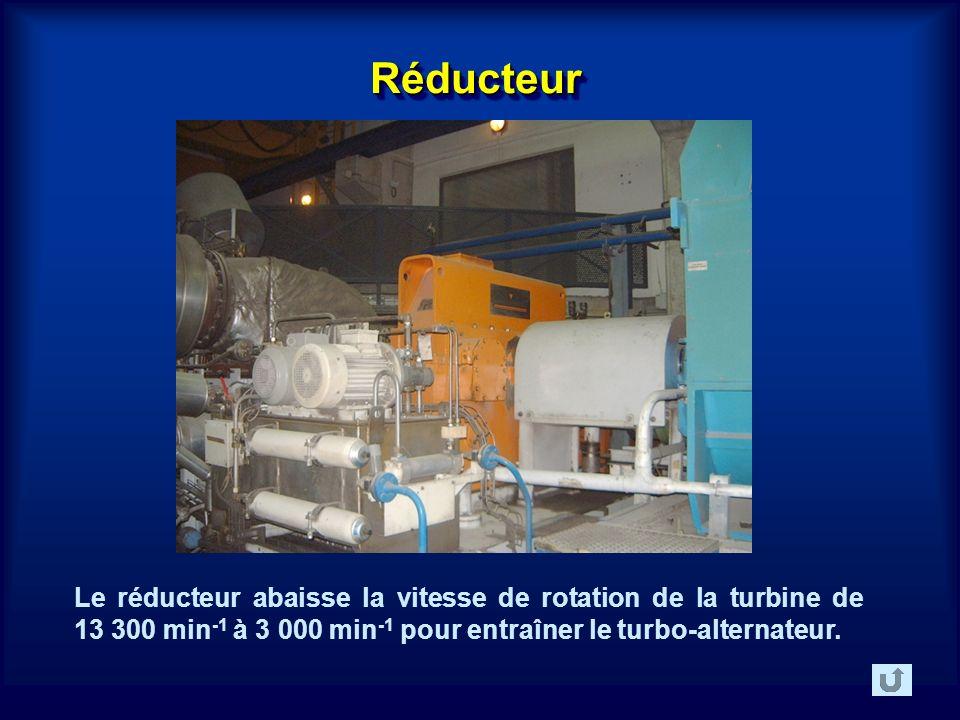 RéducteurRéducteur Le réducteur abaisse la vitesse de rotation de la turbine de 13 300 min -1 à 3 000 min -1 pour entraîner le turbo-alternateur.