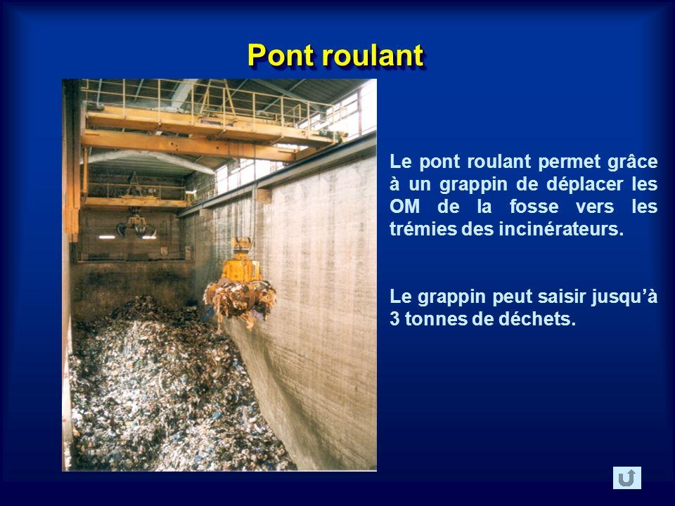 Pont roulant Le pont roulant permet grâce à un grappin de déplacer les OM de la fosse vers les trémies des incinérateurs.