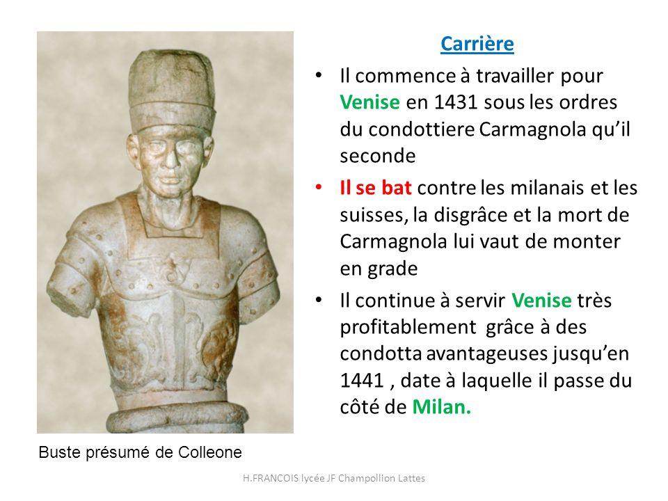 Carrière Il commence à travailler pour Venise en 1431 sous les ordres du condottiere Carmagnola quil seconde Il se bat contre les milanais et les suis