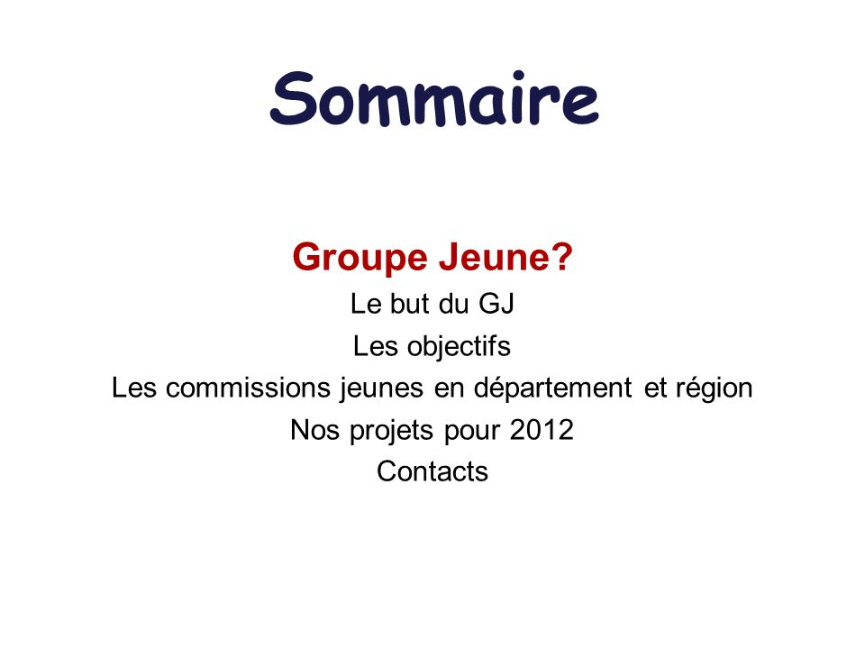 Sommaire Groupe Jeune.