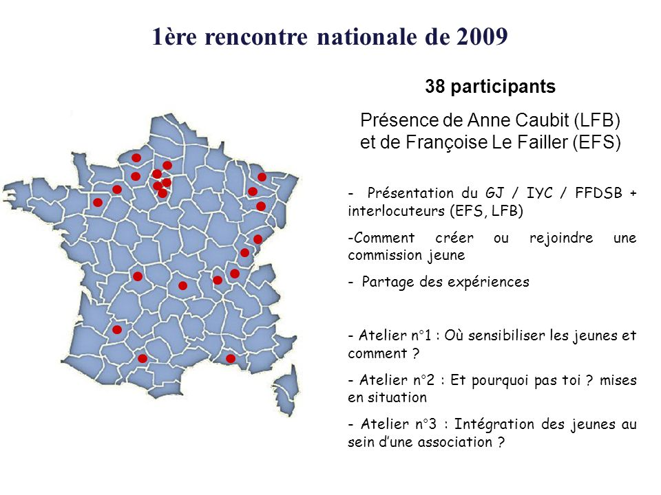 1ère rencontre nationale de 2009 38 participants Présence de Anne Caubit (LFB) et de Françoise Le Failler (EFS) - Présentation du GJ / IYC / FFDSB + interlocuteurs (EFS, LFB) -Comment créer ou rejoindre une commission jeune - Partage des expériences - Atelier n°1 : Où sensibiliser les jeunes et comment .
