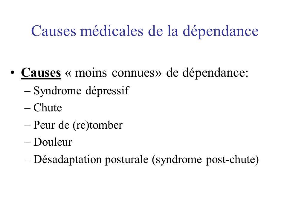 Causes médicales de la dépendance Causes « moins connues» de dépendance: –Syndrome dépressif –Chute –Peur de (re)tomber –Douleur –Désadaptation postur
