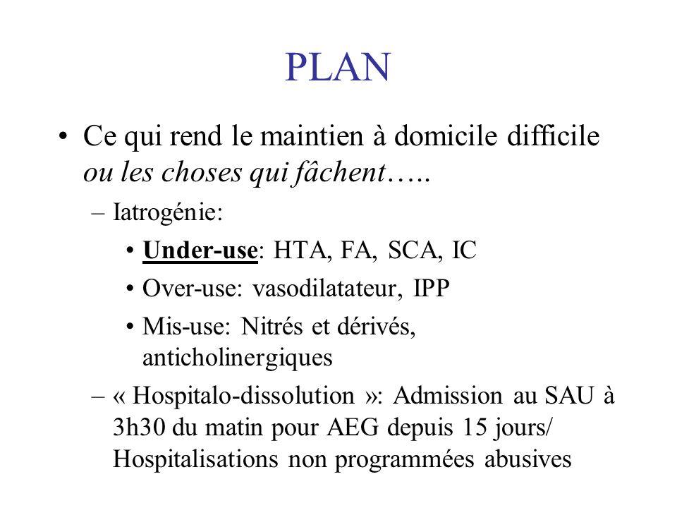 Dépendance à domicile Iatrogénie Hospitalodissolution Prise en charge Pathologies Environnement social, économique, réseau gériatrique,….