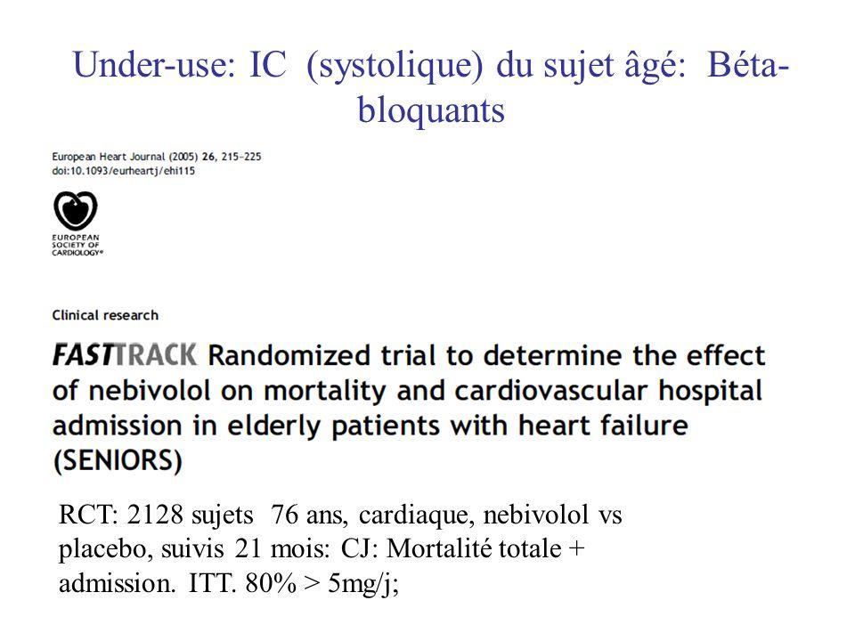RCT: 2128 sujets 76 ans, cardiaque, nebivolol vs placebo, suivis 21 mois: CJ: Mortalité totale + admission. ITT. 80% > 5mg/j; Under-use: IC (systoliqu