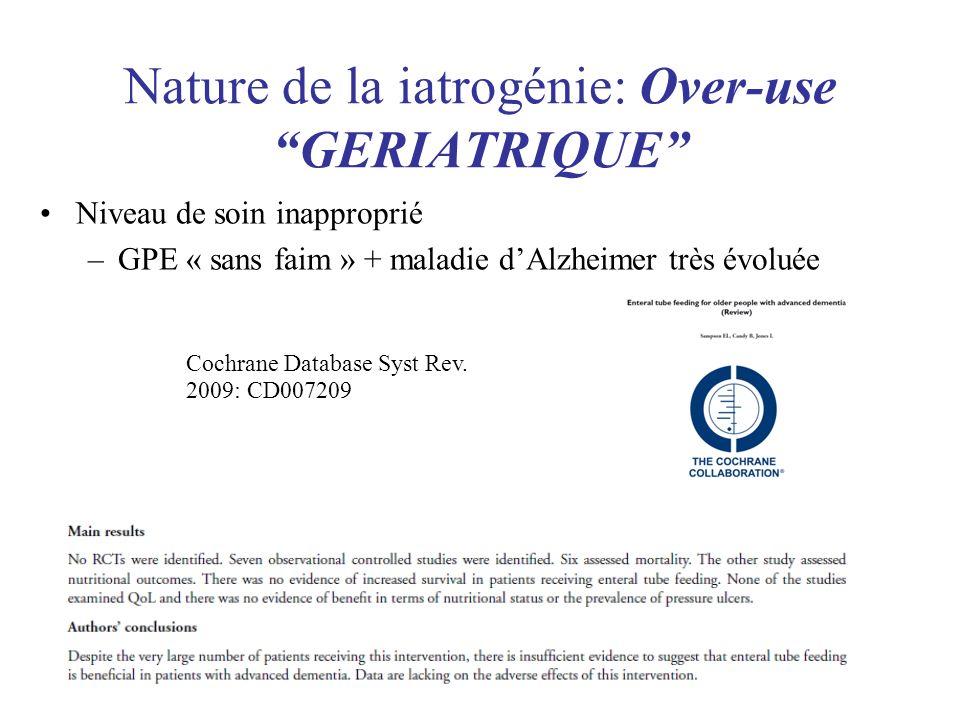 Niveau de soin inapproprié –GPE « sans faim » + maladie dAlzheimer très évoluée Nature de la iatrogénie: Over-use GERIATRIQUE Cochrane Database Syst R