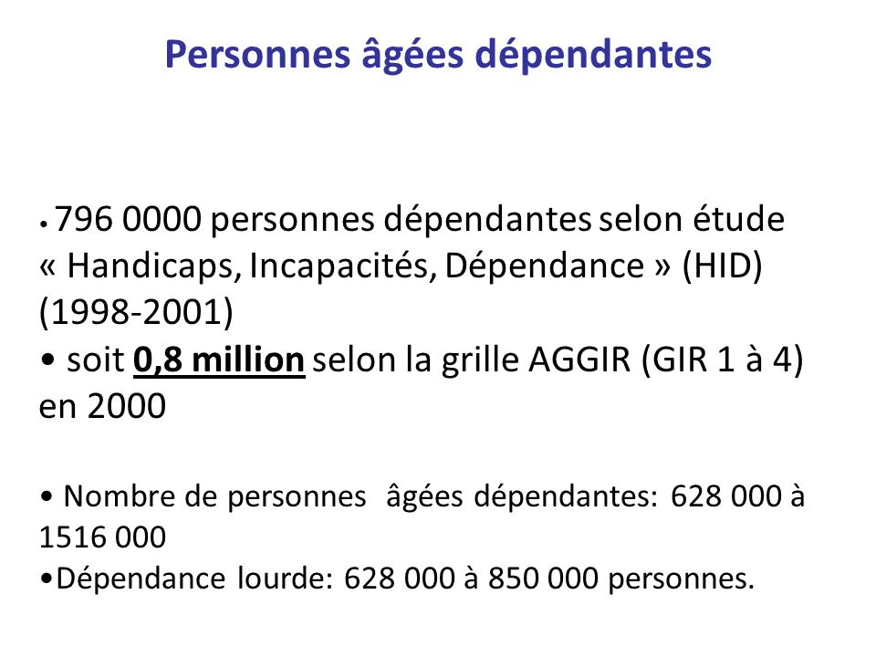 796 0000 personnes dépendantes selon étude « Handicaps, Incapacités, Dépendance » (HID) (1998-2001) soit 0,8 million selon la grille AGGIR (GIR 1 à 4)
