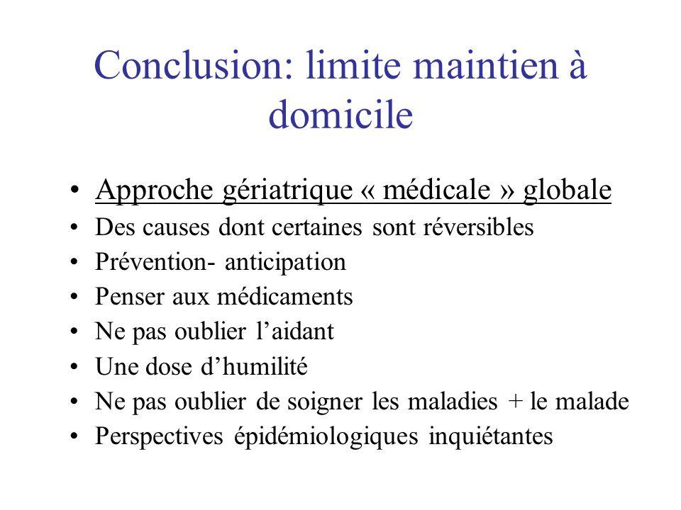 Conclusion: limite maintien à domicile Approche gériatrique « médicale » globale Des causes dont certaines sont réversibles Prévention- anticipation P