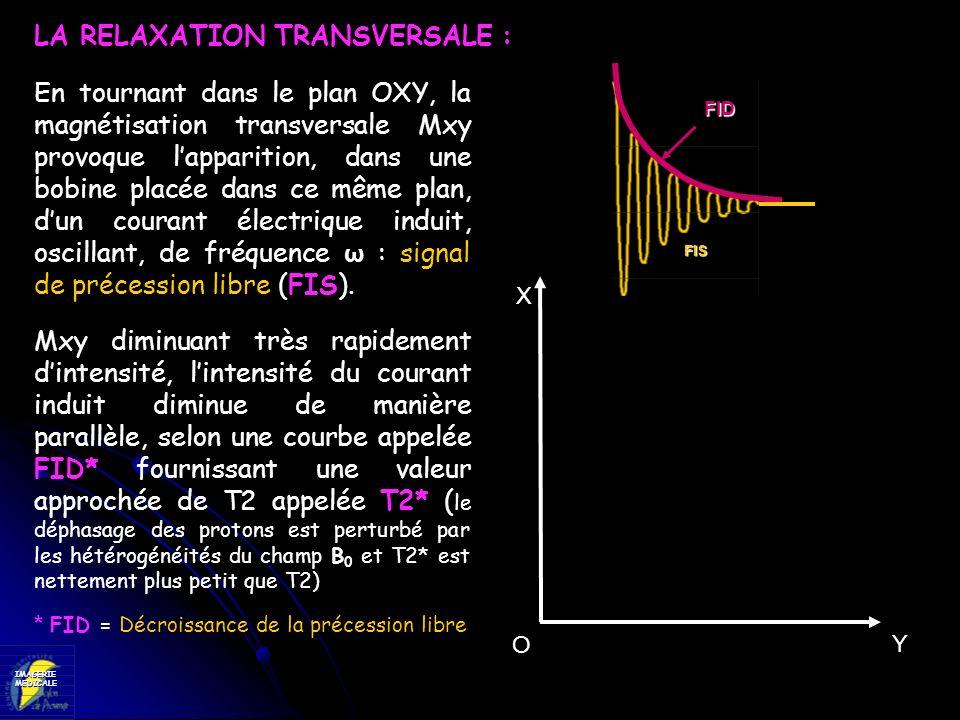 IMAGERIEMEDICALE FISFIS FIS FID En tournant dans le plan OXY, la magnétisation transversale Mxy provoque lapparition, dans une bobine placée dans ce m