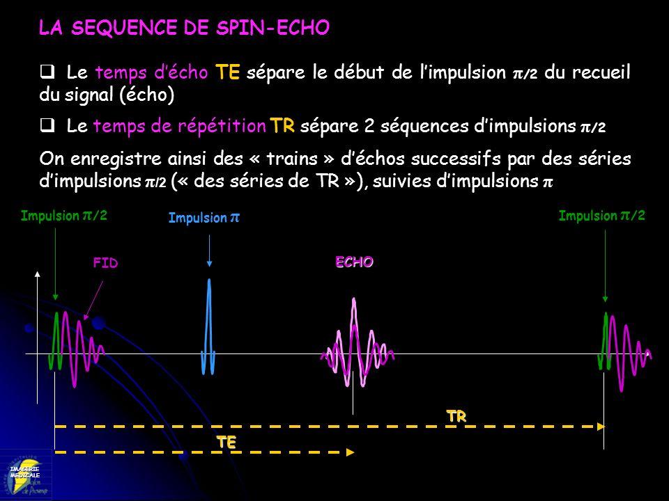 IMAGERIEMEDICALE LA SEQUENCE DE SPIN-ECHO Le temps décho TE sépare le début de limpulsion π /2 du recueil du signal (écho) Le temps de répétition TR s