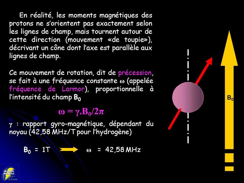 IMAGERIEMEDICALE Ce mouvement de rotation, dit de précession, se fait à une fréquence constante ω (appelée fréquence de Larmor), proportionnelle à lin