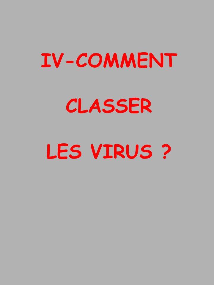 IV-COMMENT CLASSER LES VIRUS ?