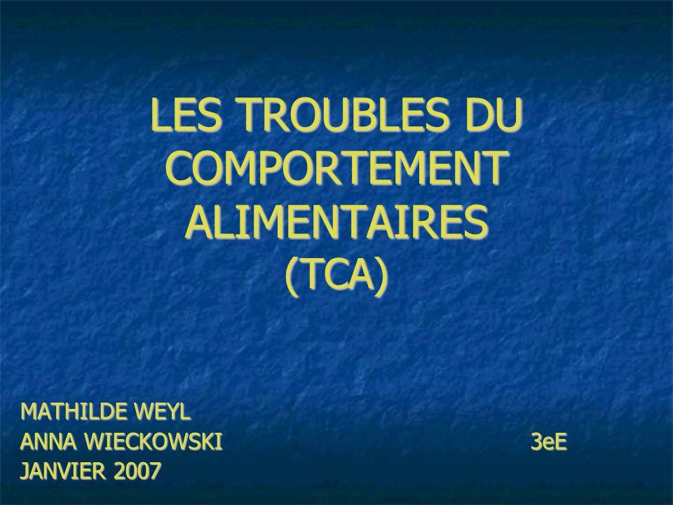 LES TROUBLES DU COMPORTEMENT ALIMENTAIRES (TCA) MATHILDE WEYL ANNA WIECKOWSKI 3eE JANVIER 2007
