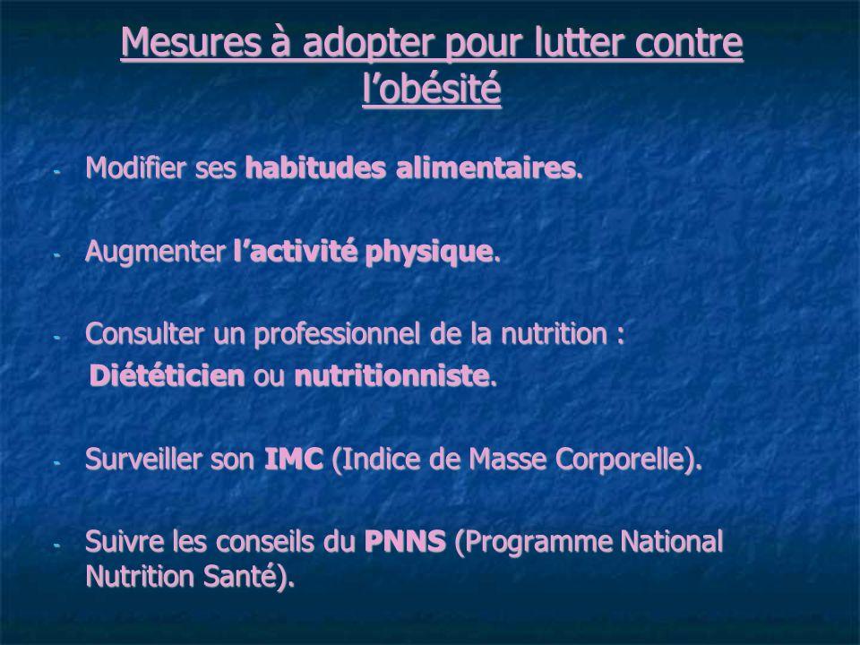Mesures à adopter pour lutter contre lobésité - Modifier ses habitudes alimentaires.
