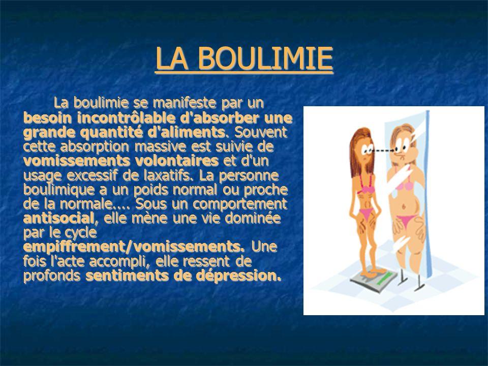 LA BOULIMIE La boulimie se manifeste par un besoin incontrôlable d absorber une grande quantité d aliments.