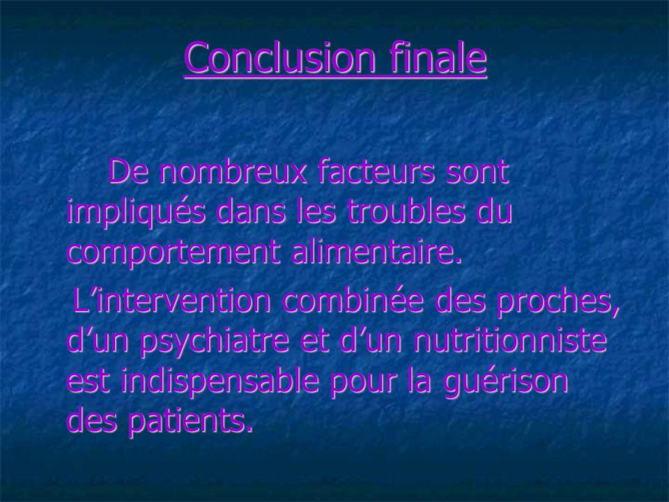 Conclusion finale De nombreux facteurs sont impliqués dans les troubles du comportement alimentaire.