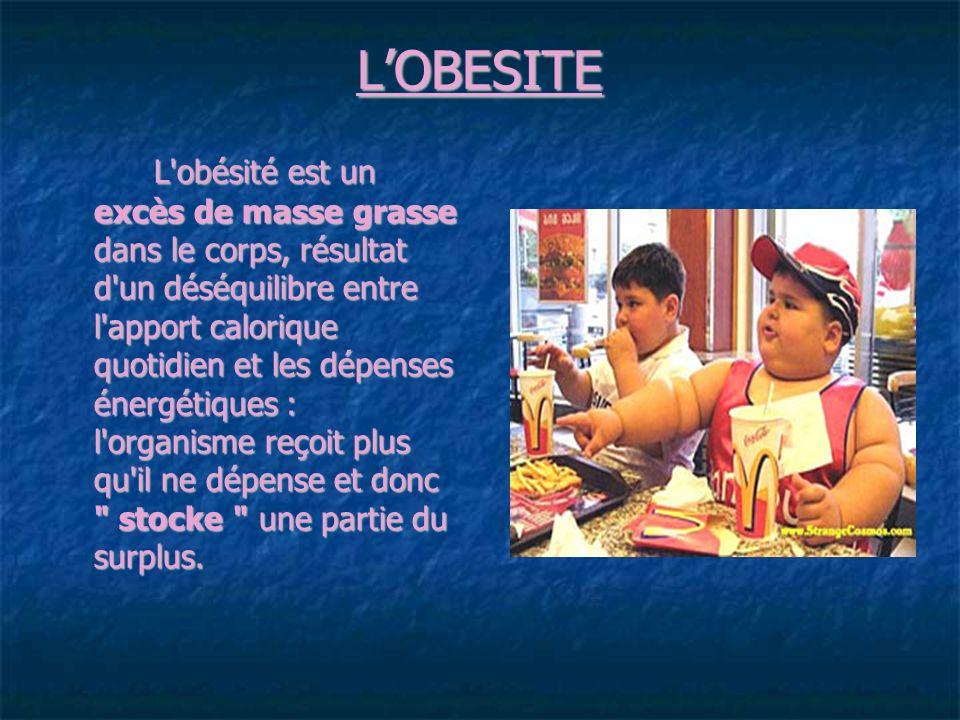 LOBESITE L obésité est un excès de masse grasse dans le corps, résultat d un déséquilibre entre l apport calorique quotidien et les dépenses énergétiques : l organisme reçoit plus qu il ne dépense et donc stocke une partie du surplus.