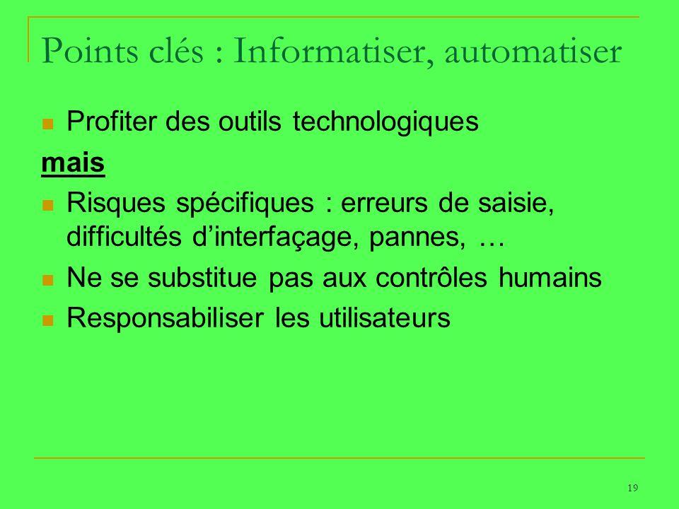 19 Points clés : Informatiser, automatiser Profiter des outils technologiques mais Risques spécifiques : erreurs de saisie, difficultés dinterfaçage,