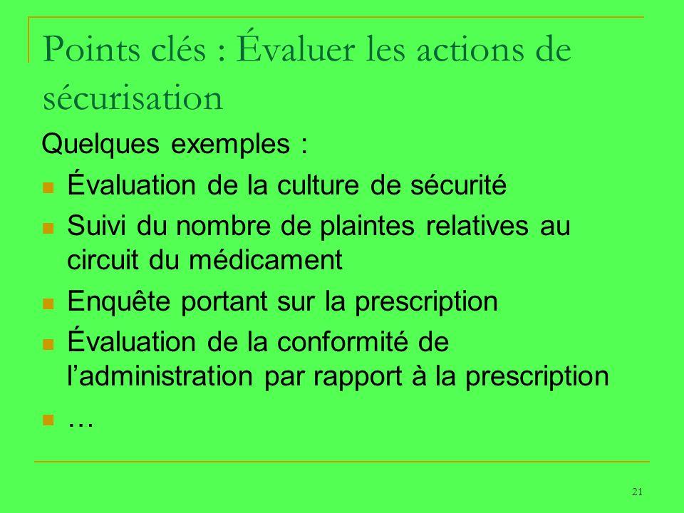 21 Points clés : Évaluer les actions de sécurisation Quelques exemples : Évaluation de la culture de sécurité Suivi du nombre de plaintes relatives au