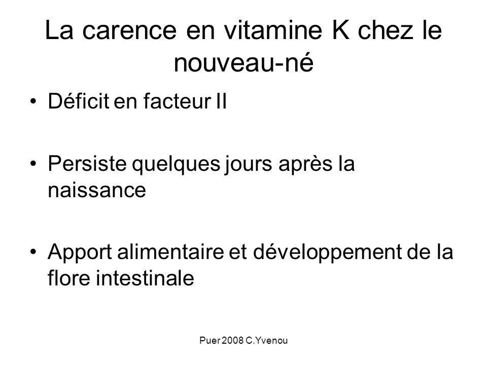 La carence en vitamine K chez le nouveau-né Déficit en facteur II Persiste quelques jours après la naissance Apport alimentaire et développement de la