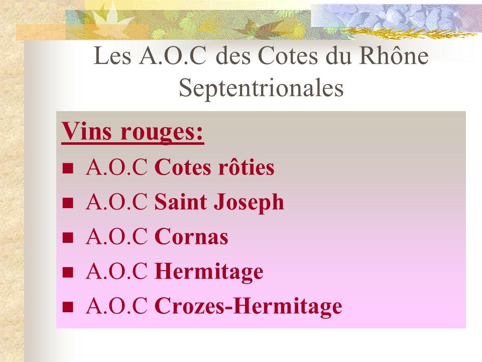Les cépages des Côtes du Rhône septentrionales Blanc : Viognier, Roussanne, Marsanne Rouge : Syrah (seul cépage autorisé)