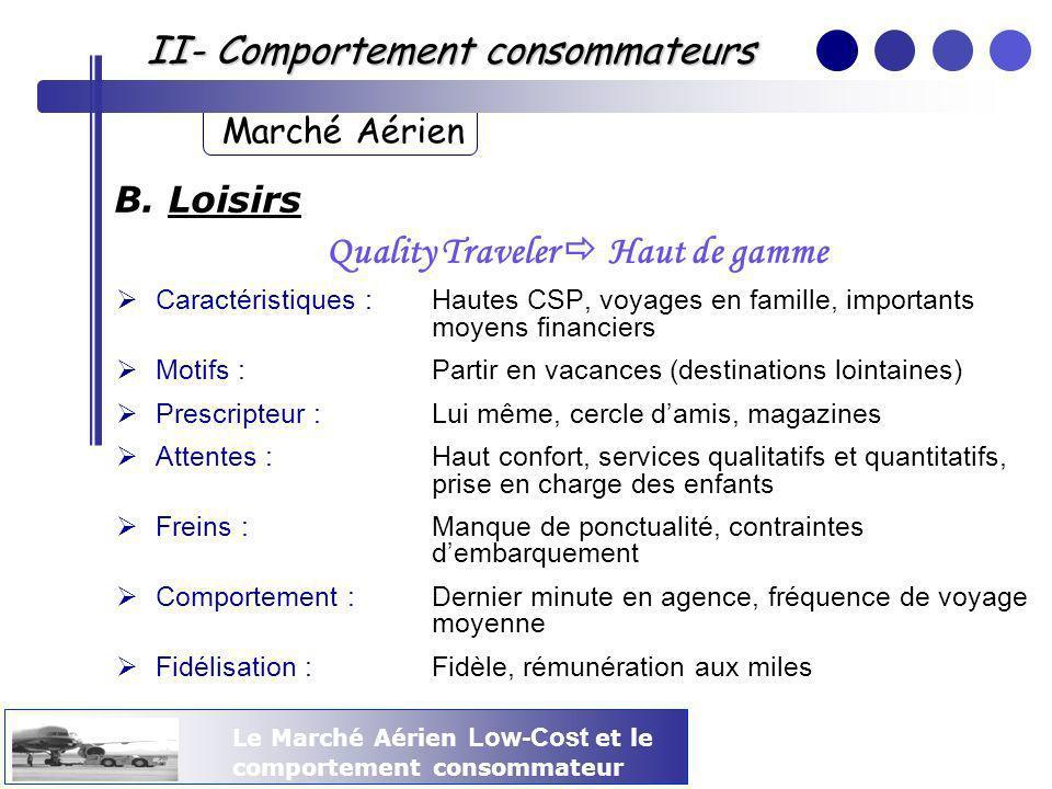 Le Marché Aérien Low-Cost et le comportement consommateur II- Comportement consommateurs Marché Aérien B. Loisirs Quality Traveler Haut de gamme Carac