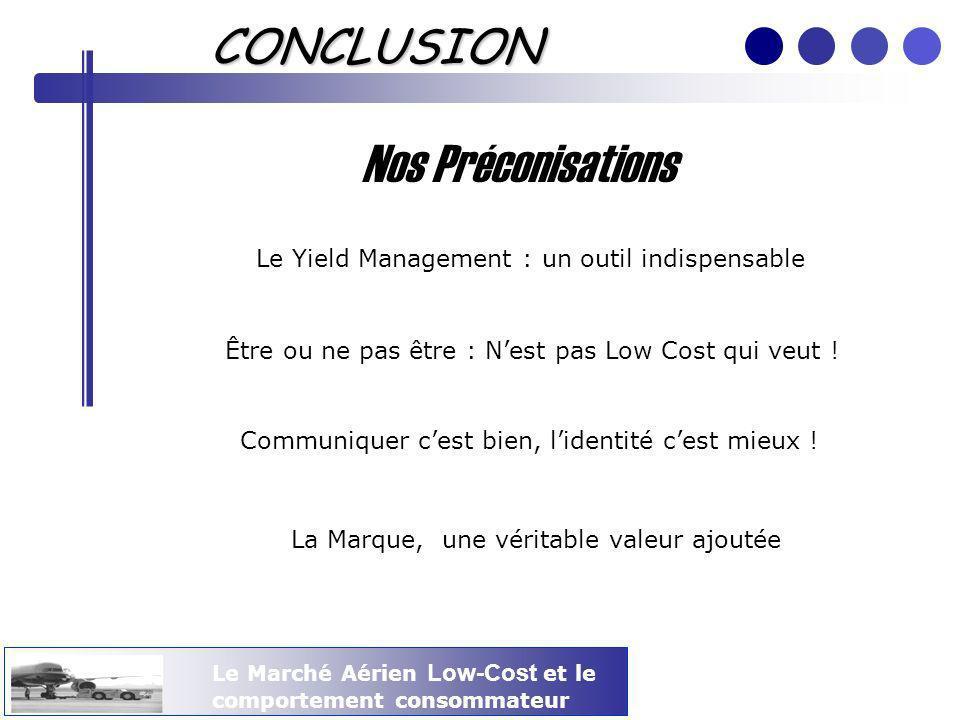 Le Marché Aérien Low-Cost et le comportement consommateur CONCLUSION Nos Préconisations Le Yield Management : un outil indispensable Être ou ne pas êt