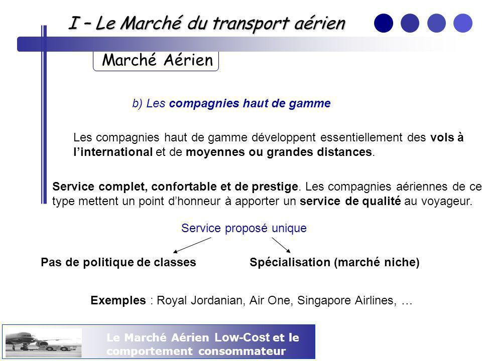 I – Le Marché du transport aérien Marché Aérien b) Les compagnies haut de gamme Les compagnies haut de gamme développent essentiellement des vols à li