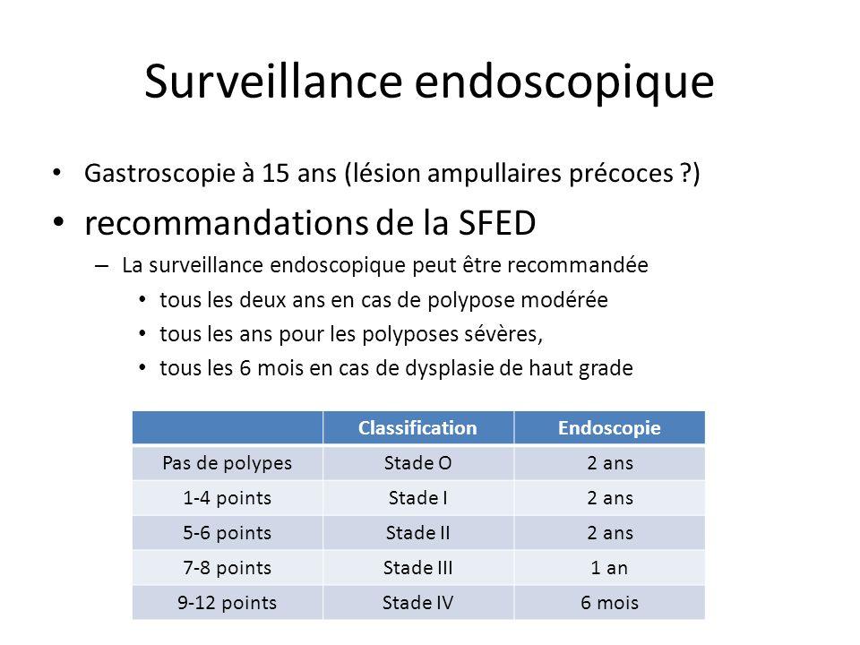 Surveillance endoscopique Gastroscopie à 15 ans (lésion ampullaires précoces ?) recommandations de la SFED – La surveillance endoscopique peut être re