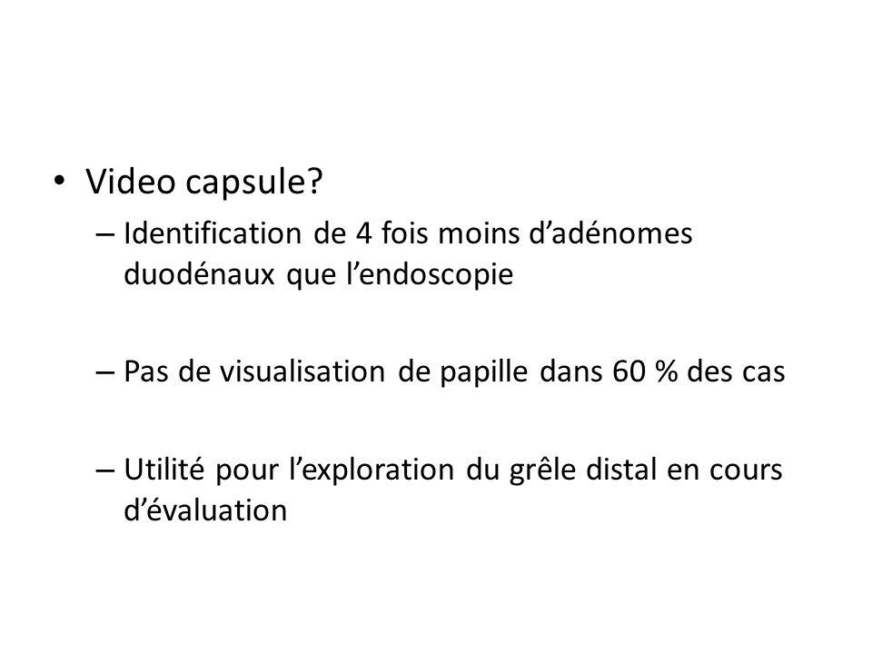 Video capsule? – Identification de 4 fois moins dadénomes duodénaux que lendoscopie – Pas de visualisation de papille dans 60 % des cas – Utilité pour